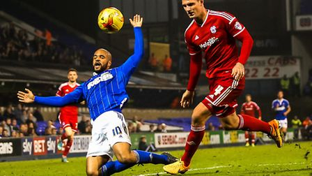 David McGoldrick is fouled by Sean Morrison during the Ipswich Town v Cardiff City (Championship) m