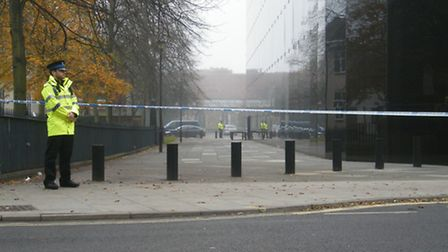 The alley beside the Willis building in Ipswich has been cordoned off following reports of a sexual