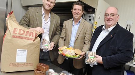 Peter Tichbon, centre, managing director of malt firm Edme, winner of the Food and Farming Business