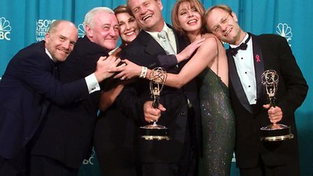 """Cast members of """"Frasier,"""" winner of the Emmy for Outstanding Comedy Series, in 1998. From left are"""