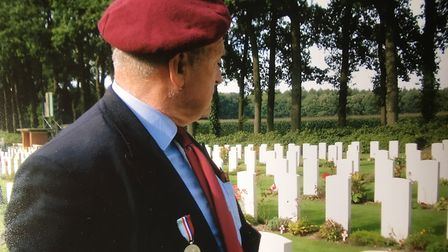 Tom Bowden on a visit to the Arnhem war cemetery. Picture: Bowden Family