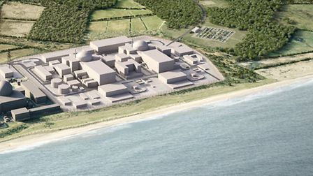 A computer-generated image of how the Sizewell complex will look after construction of Sizewell C.