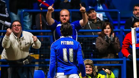 Brett Pitman celebrates Towns second goal during the Ipswich Town v Bolton Wanderers (Championship)