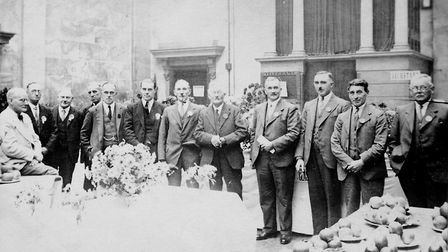 Diss & District Horticultural Society at a show being held at Diss Corn Hall probably in the inter-w