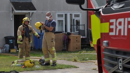 Fire crews were called to the flat fire