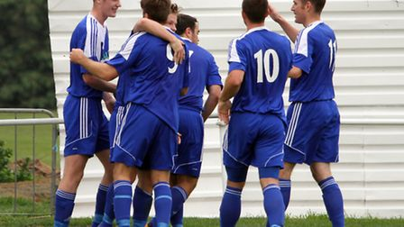 Ipswich Wanderers celebrate a goal in their FA Vase victory over Clapton, earlier this season.