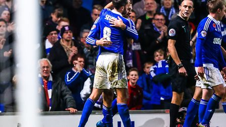 Brett Pitman is embraced by Cole Skuse after scoring Towns second in the Ipswich Town v Bolton Wande