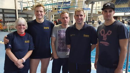 Members of Stowmarket SC's masters squad at Ponds Forge. From left, Kim Lynch, Peter Lynch, Ollie Bu