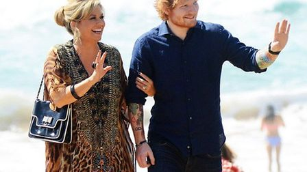Ed Sheeran with Emily Symons on the set of Hoem and Away