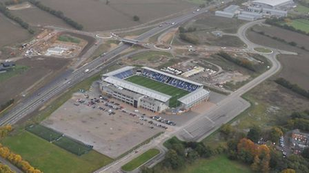 An aerial image showing junction 28 on the A12, shortly after completion of the Weston Homes Communi