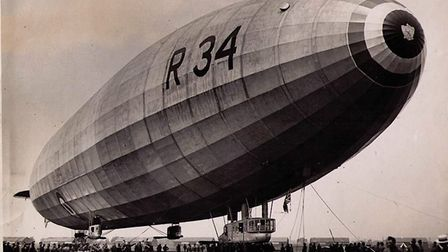 The R34 airship, nicknamed 'Tiny' on account of its vast size, which carried out the first round tri