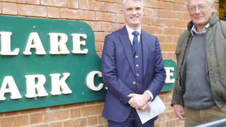 South Suffolk MP James Cartlidge with chair of the park trustees Geoffrey Bray at Clare Country Park