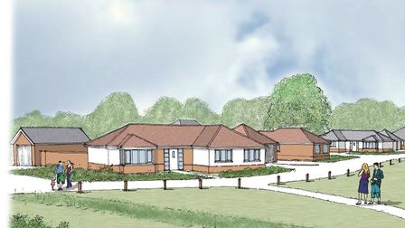 An artist impression of the 24 retirement bungalows proposed for Parish Fields in Diss. Picture: Sco