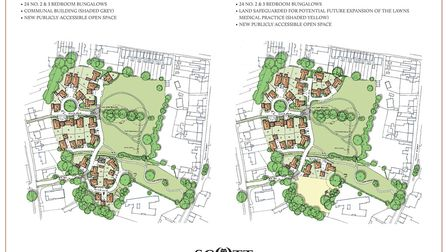 The two proposed options for retirement bungalows on Parish Fields in Diss that are part of the publ
