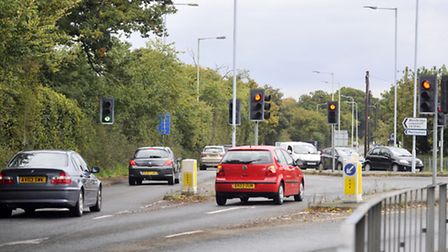The A1214 and Ropes Drive roundabout in Kesgrave will have a trial traffic light switch-off next mon