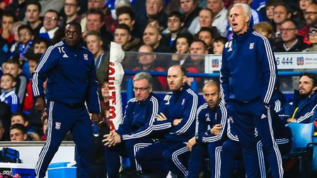 Mick McCarthy and Terry Connor give their instructions from the touchline