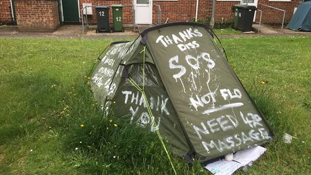 A man had been camping at Thomas Manning Road retirement bungalows in Diss in a tent daubed with gra