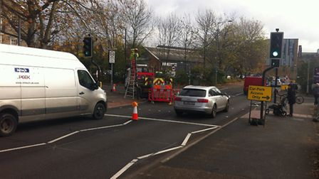 The roadworks at Star Lane which brought traffic to a halt in the town centre.