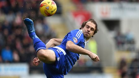 Brett Pitman pulls the ball across the Rotherham penalty area with a flick of his heel