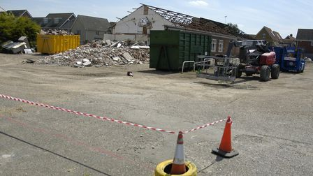 Demolition work under way at the site of the former Apollo club in Harleston ending hopes it could b
