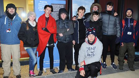 Students from West Suffolk College slept rough outside the main entrance to the college.