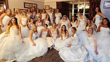 Some of the brides who attended the Wear Your Wedding Dress Again Charity Party held by Abigail's Co