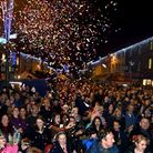 A packed Buttermarket and Cornhill in Bury St Edmunds for the switching on of the Christmas lights
