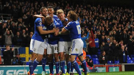 Ipswich Town v Wolverhampton Wanderers Daryl Murphy scores for Town taking the game to 2-1.