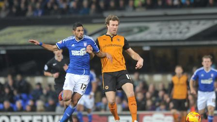 Ipswich Town FC V Wolverhampton Wanderers FC. Sky Bet Championship. Kevin Bru in action for Town.