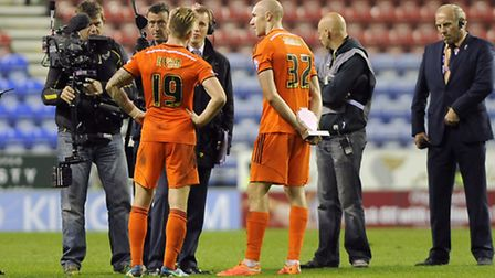 Goalscorers Luke Hyam and Connor Sammon are interviewed by Sky Sports after the win at Wigan Athleti