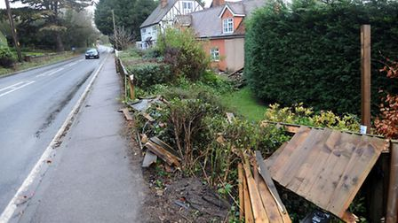 The scene after a car crashed into a house in Great Yeldham.