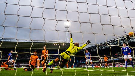Jonathan Douglas fires Town in front in the Ipswich Town v Wolves (Championship) match at Portman Ro