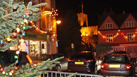 Buildings in Clare town centre lit up for Christmas 2014
