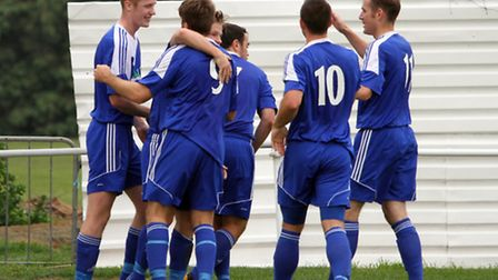 Ipswich Wanderers celebrate a goal in this season's FA Vase against Clapton
