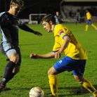 Jack Wilkinson (yellow), who has returned to AFC Sudbury for a third spell