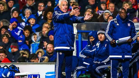 Mick McCarthy gets animated on the touchline during the Ipswich Town v Wolverhampton Wolves (Champio