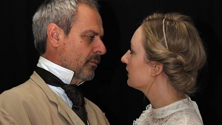 Mark Burridge as Dr Astrov and Emma Martin (with blonde hair) as Yeliena