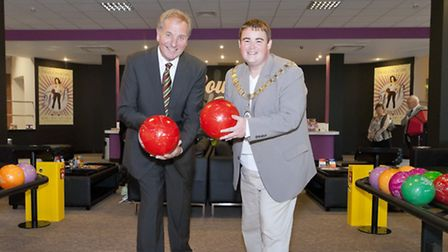 Billy Peak (left), of Clacton Pavilion plc, with former Tendring District Council chairman Danny May