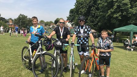 From left to right: Ethan, Julie, Robert and Lewis Garnham at the DIss Cyclathon. Picture: Ella Wilk