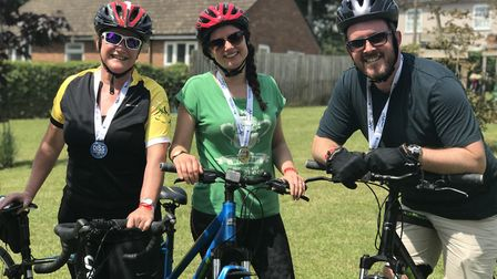 From left to right: Kerry Lyme, Eve Cook and Ross Cook at the Diss Cyclathon. Picture: Ella Wilkinso