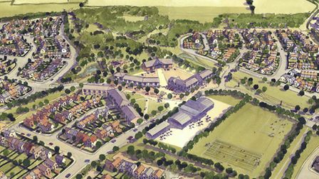 An artists' impression of the Chilton Woods development in Sudbury.