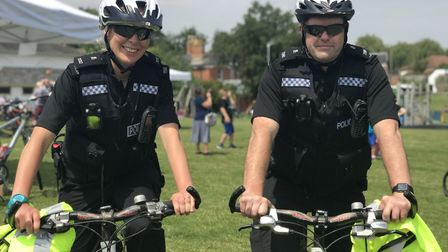 Officers Alana Chapman and Matthew Cook from Diss police at the Diss Cyclathon. Picture: Ella Wilkin