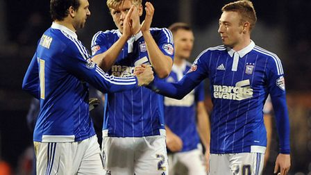 Goalscorers Brett Pitman and Freddie Sears congratulate each other at Fulham