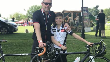 Gavin and Jonah Graham at the Diss Cyclathon. Picture: Ella Wilkinson