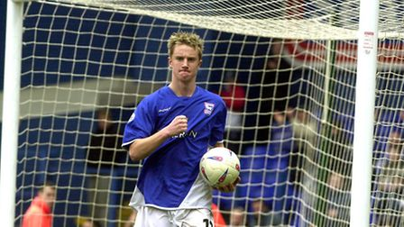 Dean Bowditch celebrates his hat-trick for Ipswich Town against Watford