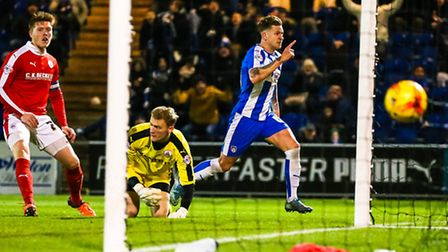 George Moncur celebrates scoring in the 3-2 home defeat to Barnsley last Saturday