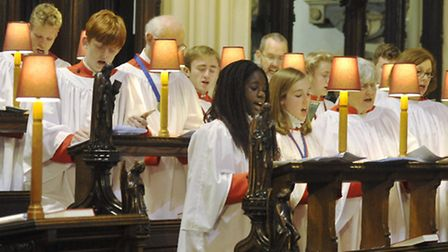 The Choir of St Mary-le-Tower sing at the 2015 Concert of Carols.