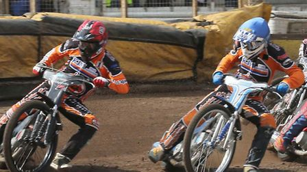 Mildenhall's Danny Halsey (red) and Tom Bacon (blue) lead Stoke's Jon Armstrong (white) and Chris Wi