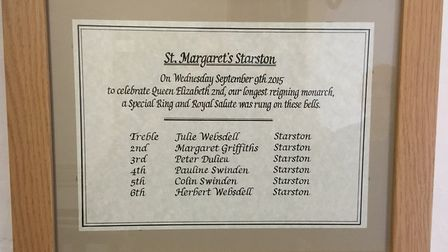 Julie and Herbert Websdell have rung the bells at Starston church to mark many memorable events, inc