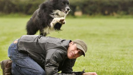 Star, a four-year old Border Collie, jumps over his owner Karl Knights.